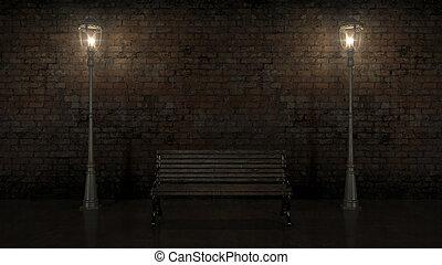 ladrillo, vista, iluminado, noche