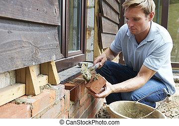 ladrillos, colocar, trabajador construcción, sitio