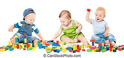 ladrillos de edificio, juego, niños, grupo, bebes, colorido, encima, aislado, niños, juguetes, plano de fondo, bloques, blanco, juego