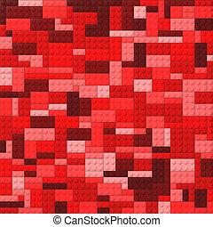 ladrillos del juguete, apariencia el plano de fondo, -, rojo
