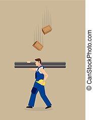 ladrillos, ilustración, vector, lugar de trabajo, peligro, caer