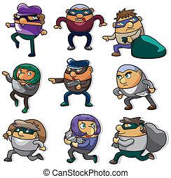 ladro, cartone animato, icona