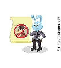 ladro, coniglio, polizia, dall'aspetto, vettore