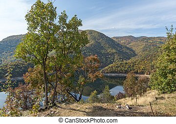 Panoramic Autumn ladscape of The Vacha (Antonivanovtsi) Reservoir, Rhodope Mountains, Plovdiv Region, Bulgaria