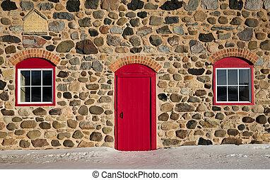 ladugård, dörr, sten, fönstren, gammal, röd, lysande, två