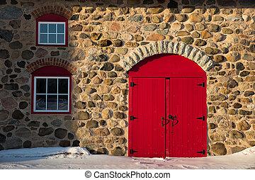ladugård, dörr, sten, gammal, röd, lysande