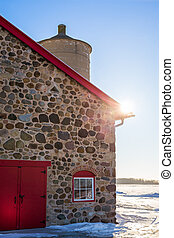 ladugård, dörr, sten, gammal, röd, lysande, sunflare
