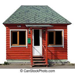 ladugård, färsk, trä, inbillning, skjul, gjord, rustik, röd, loggar