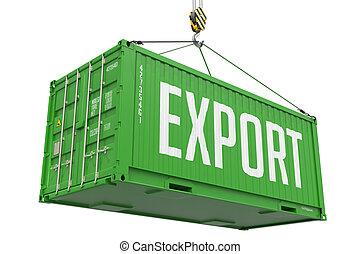 ladung, container., -, export, hängender , grün