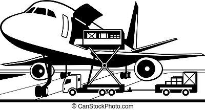 ladung, kranservice, laden, lastwagen, motorflugzeug