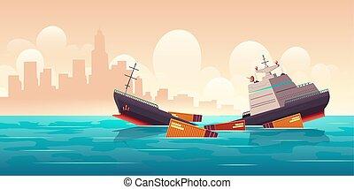 ladung, sinken, gefäß, schiffbruch, schiff, wasserlandschaft