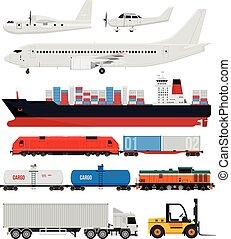ladung, und, auslieferung, transport