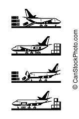 ladung, verschieden, laden, motorflugzeug, arten