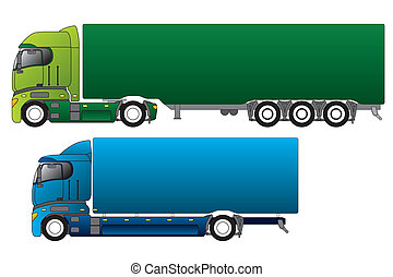 ladung, verschieden, lastwagen, europäische