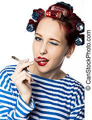 lady., たばこを吸う, funy, 主婦, 壊れなさい, カーラー, 喫煙, セクシー, cigarette.
