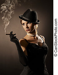 lady and cigar - elegant lady, cigar and smoke
