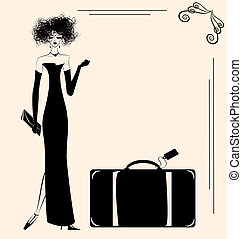 lady and suitcase - a beige background and a lady with a big...