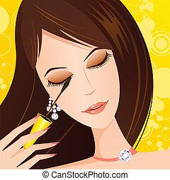 illustration of fashionable lady applying eye mascara