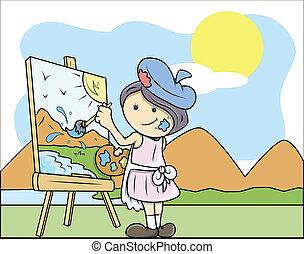 Lady Artist Painting Landscape