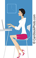 Lady at work - Elegant lady working
