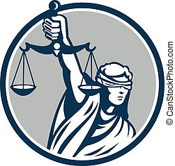 Illustration of blindfolded lady facing front holding and raising up weighing scales of justice set inside circle on isolated white background.