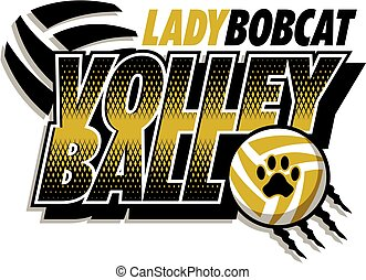 lady bobcat volleyball team design with ball and paw print ...
