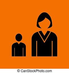 Lady Boss With Subordinate Icon. Black on Orange Background....