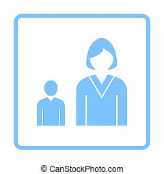 Lady Boss With Subordinate Icon. Blue Frame Design. Vector...