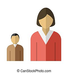 Lady Boss With Subordinate Icon. Flat Color Design. Vector...