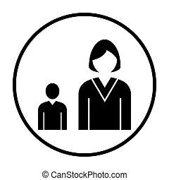 Lady Boss With Subordinate Icon. Thin Circle Stencil Design....