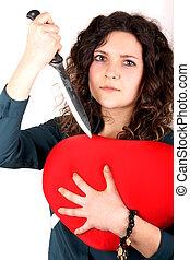 Lady broken heart