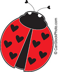 A cute lady bug with hearts, instead of dots on its red back.