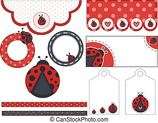 Lady Bug Birthday Design Elements