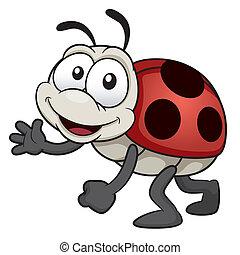 Lady bug - Vector illustration of cartoon Lady bug