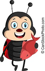 Lady bug with red fish, illustration, vector on white background.