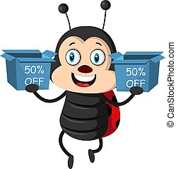 Lady bug with sale boxes, illustration, vector on white background.