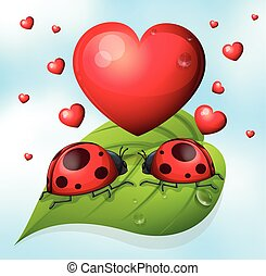 Lady bugs and heart