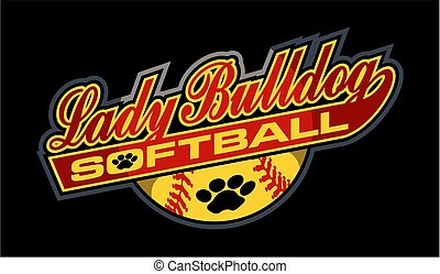 lady bulldog softball team design in script with ball and paw print for school, college or league