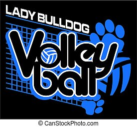lady bulldog volleyball design with paw prints and net for...