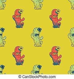 Lady cactus seamless pattern