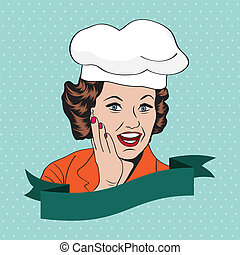 Lady Chef,  retro illustration