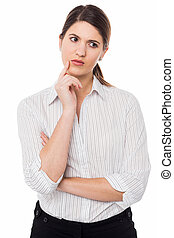 Lady concerned about her business growth - Isolated...