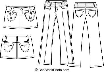 lady corduroy skirt and pant