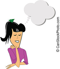 lady day dreaming of your product or message in copy space