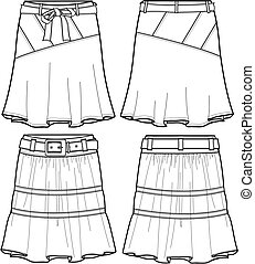 lady denim middle skirts illustration