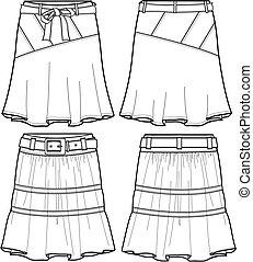 lady denim middle skirts illustration