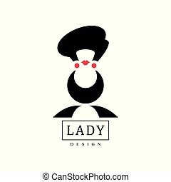 Lady design, black fashion and beauty logo design, silhouette of young lady in a hat vector Illustration