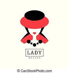 Lady design, fashion, beauty salon, studio or boutique logo template design, red and black fashion poster, placard, banner, portrait of young lady in a hat vector Illustratio