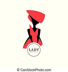 Lady design, red and black fashion and beauty logo design, silhouette of young lady in a hat vector Illustration