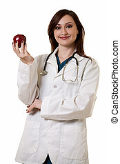Lady doctor with apple